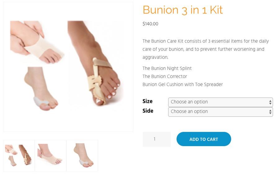 screenshot of the bunion 3 in 1 kit