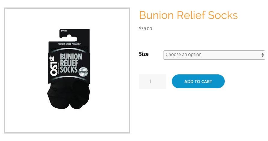 screenshot of the bunion relief socks